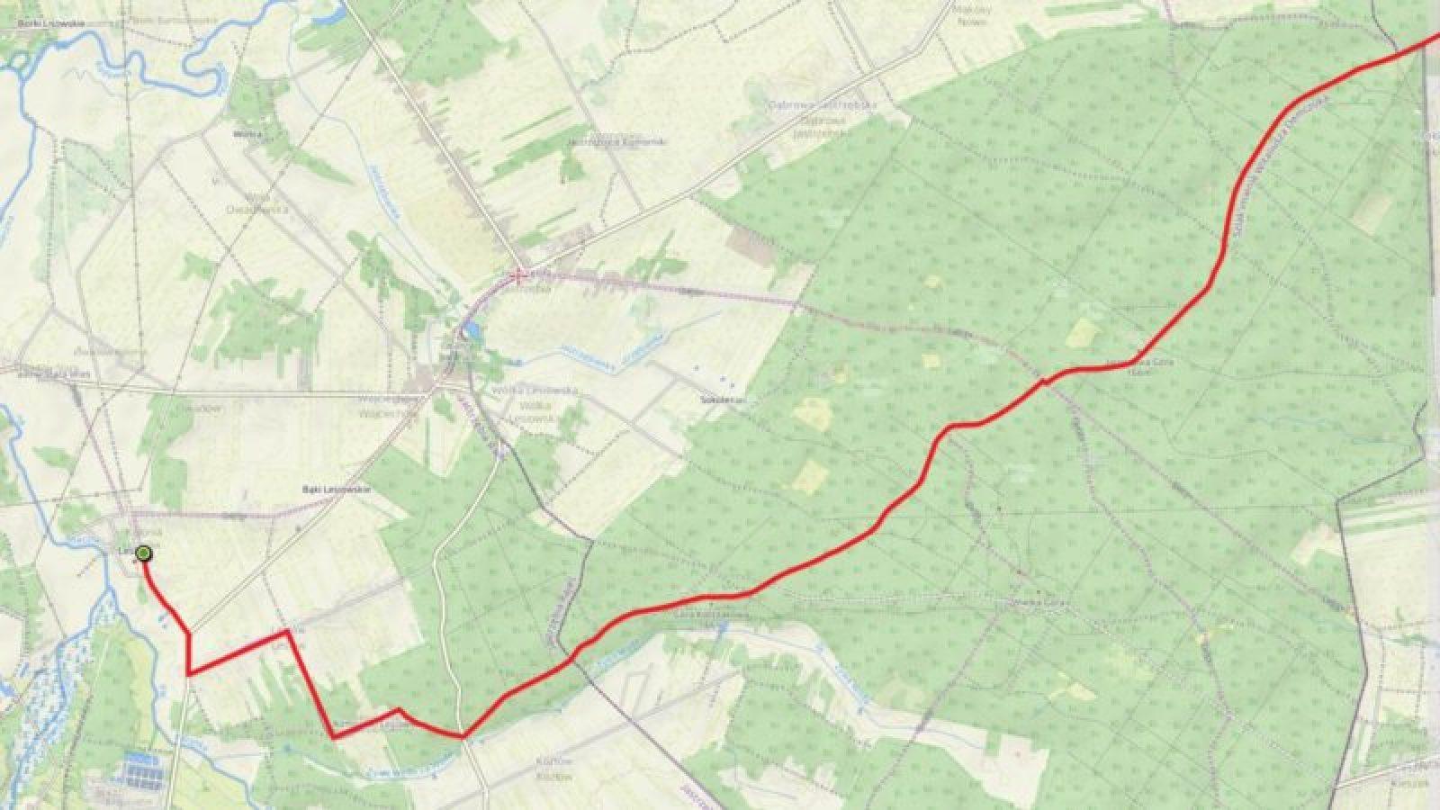 Mapa Czerwonego Szlaku Pieszego na terenie Gminy Jastrzębia